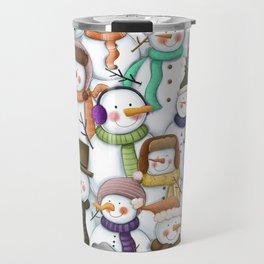 Happy Snowmen Pattern Travel Mug