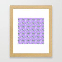 Modern artistic violet green butterfly illustration pattern Framed Art Print