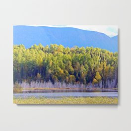 Lakeside Forest Below the Mountain Metal Print