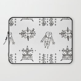 Papa Legba + Baron Samedi + Gran Bwa + Damballah-Wedo Voodoo Veve Symbols in White Laptop Sleeve