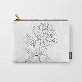 Botanical illustration line drawing - Peony Carry-All Pouch
