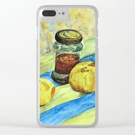 Oranges and Glass Jar on Striped Rug - Watercolor Clear iPhone Case