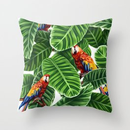 tropical leaves macaw pattern Throw Pillow