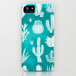 Cactus Pattern on Teal iPhone Case
