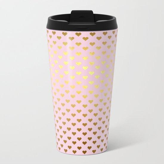 Princesslike- pink and gold elegant heart ornament pattern Metal Travel Mug