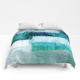Blue Green Geometric Abstract Painting Comforters