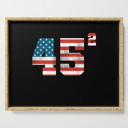 45 Squared - Donald Trump 2020 USA Flag Serving Tray