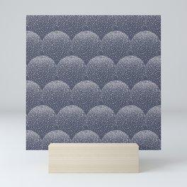 White and blue scalloped dots geometric pattern Mini Art Print