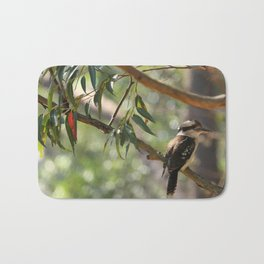 Kookaburra sitting in a gum tree Bath Mat
