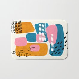 Mid Century Modern abstract Minimalist Fun Colorful Shapes Patterns Pink Teal Yellow Ochre Bubbles Bath Mat