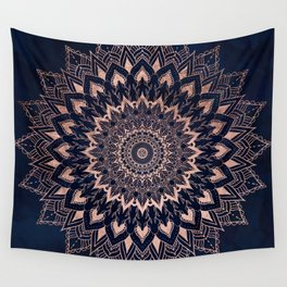Boho rose gold floral mandala on navy blue watercolor Wall Tapestry