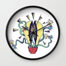 Handsy Lightbulb by Maisie Cross Wall Clock