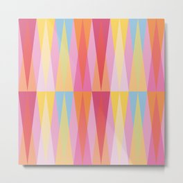 Party Argyle on Pink Metal Print