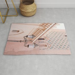 Pink Details In Marrakech | Pastel Colors Of Kasbah Mosque Photo Art Print | Morocco Travel Photography Rug