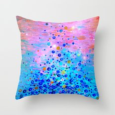 WHAT GOES UP, REVISITED - Bold Royal Blue Pink Bubbles Whimsical Underwater Ocean Abstract Painting Throw Pillow