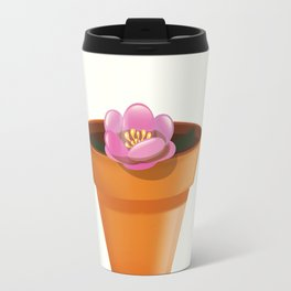 Pretty pink flower in a pot Travel Mug