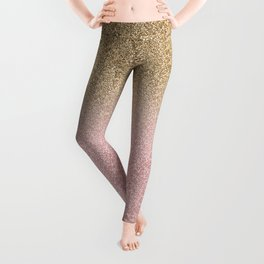Elegant Rose Gold and Gold Glitter Sparkles Gradient Image Leggings