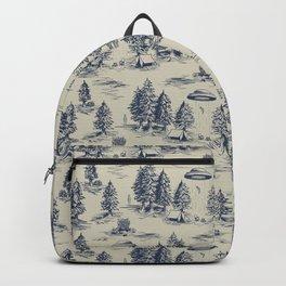 Alien Abduction Toile De Jouy Pattern in Blue Backpack