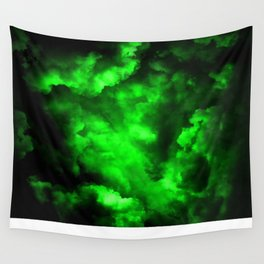Envy - Abstract In Black And Neon Green Wall Tapestry