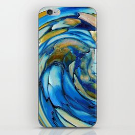 Gold N Blue Abstract Dolphin  iPhone Skin