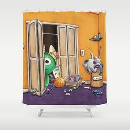 Messy Monsters by dana alfonso Shower Curtain