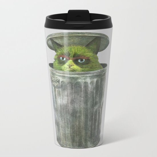 Grouchy Cat  Metal Travel Mug