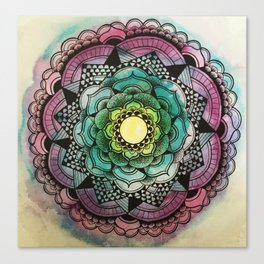 Graphic Flower Mandala Canvas Print
