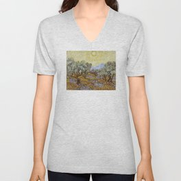 Vincent van Gogh - Olive Trees with Yellow Sky and Sun Unisex V-Neck