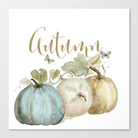 craftberrybush Canvas Prints featuring Autumn pumpkins  by craftberrybush