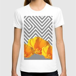 ABSTRACT CONTEMPORARY YELLOW POPPIES PATTERNS T-shirt