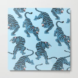 Blue Tigers Metal Print