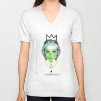 queen V-neck T-shirts featuring Queen by Marylinart