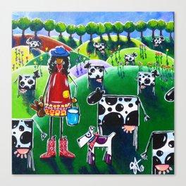Moo Cow Farm Dairy Farmer Western Cowboy Boots Trees Cows Flowers Dog Milk Rancher Milking Bright Canvas Print