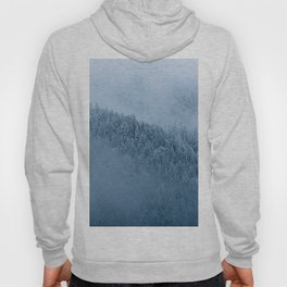 Omnious foggy winter forest - landscape photography Hoody