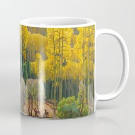 Aspen Trees & Deer, Rocky Mountains Colorado landscape by E. Hennings Coffee Mug