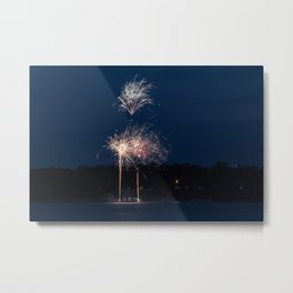 Fireworks Over Lake 26 Metal Print