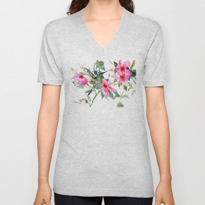 Hibiscus and Hummingbird, Hawaiian Aloha, birds and flowers design Unisex V-Neck