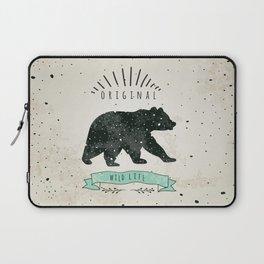 Vintage label bear. Design for T-Shirt. Нandmade illustration  sketch bear. Laptop Sleeve