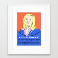 parks and recreation Framed Art Prints featuring Leslie Knope (Parks & Recreation) by Pan and Scan