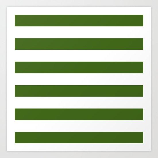 Simply Stripes in Jungle Green Art Print
