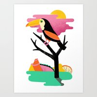 toucan Art Prints featuring Toucan by Vasilisa Wise