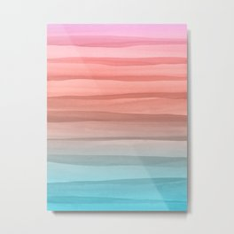 Colorful Watercolor Lines Pattern Metal Print