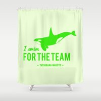 iwatobi Shower Curtains featuring FOR THE TEAM - Tachibana Makoto by Tsundere in the Sheets