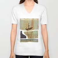 boat V-neck T-shirts featuring Boat by Menchulica