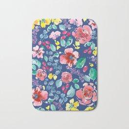 Summer Blooms on True Blue Bath Mat