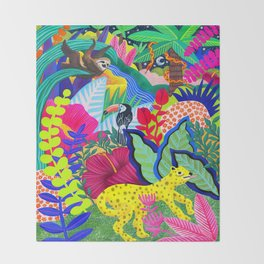 Jungle Party Animals Throw Blanket