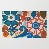 pi Area & Throw Rugs featuring Pi Floral by Slice of Pi