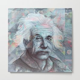 Einstein - The True Sign Of Intelligence Is Not Knowledge But Imagination. Metal Print