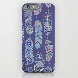 Colorful Vintage Bohemian Feathers iPhone Case