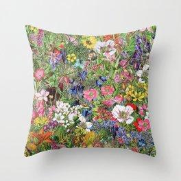 Botanical Bloom Nature Wildflower Throw Pillow